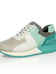 cheap -Women's Shoes Cowhide Spring Comfort Sneakers Creepers Round Toe Light Blue