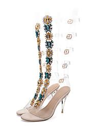 baratos -Mulheres Sapatos PVC Verão Inovador / Botas da Moda Sandálias Salto Agulha Dedo Aberto Pedrarias / Presilha Claro / Festas & Noite