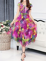 economico -Per donna Moda città Boho Tubino Swing Vestito Fantasia floreale A quadri Maxi