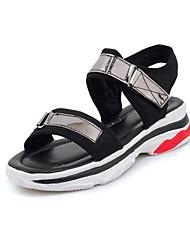 Недорогие -Жен. Обувь Полотно Весна / Лето Удобная обувь Сандалии На низком каблуке Открытый мыс Пряжки Белый / Черный / Розовый