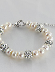 cheap -Women's Strand Bracelet - S925 Sterling Silver, Freshwater Pearl Natural, Sweet, Fashion Bracelet White For Gift / Daily