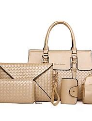 baratos -Mulheres Bolsas PU Conjuntos de saco 5 Pcs Purse Set Ziper Preto / Vermelho / Cinzento Prateado