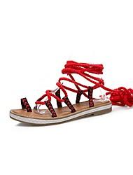 cheap -Women's Shoes Fabric Summer Comfort / Gladiator Sandals Flat Heel Open Toe Bowknot Black / Yellow / Red