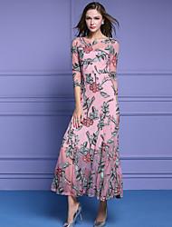 baratos -Mulheres Sofisticado Moda de Rua Evasê balanço Vestido - Bordado, Floral Médio