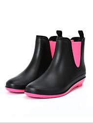 Недорогие -Жен. Обувь Кожа ПВХ  Весна лето Резиновые сапоги Ботинки На низком каблуке Круглый носок Черный / Красный / Для вечеринки / ужина