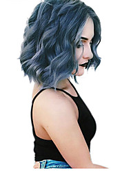 cheap -Synthetic Wig Wavy Bob Haircut / Pixie Cut Synthetic Hair New Arrival / Hot Sale / African American Wig Blue Wig Women's Short Capless / Yes