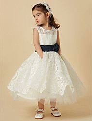 cheap -A-Line Knee Length Flower Girl Dress - Lace / Tulle Sleeveless Scoop Neck with Sash / Ribbon / Flower by LAN TING BRIDE®