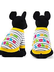 baratos -Cachorros Gatos Animais de Estimação Camiseta Roupas para Cães Listrado Padrão Carta e Número Amarelo Algodão / Poliéster Ocasiões