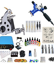preiswerte -BaseKey Tätowiermaschine Beginner Set - 2 pcs Tattoo-Maschinen mit 7 x 15 ml Tätowierfarben, Professionell, Sets Aleación Mini Stromversorgung Case Not Included 20 W 1 x Drehtattoomaschine für