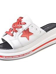 cheap -Women's Shoes PU(Polyurethane) Summer Comfort Slippers & Flip-Flops Flat Heel Black / Red