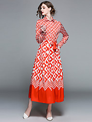 baratos -Mulheres Para Noite Vintage / Boho Manga Princesa Delgado Evasê / balanço Vestido - Cordões / Estampado, Geométrica Colarinho de Camisa