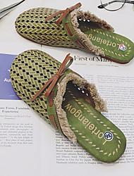 Недорогие -Жен. Обувь Полиуретан Лето Удобная обувь Башмаки и босоножки На плоской подошве Круглый носок Бежевый / Зеленый