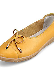 Недорогие -Жен. Обувь Кожа Весна лето Удобная обувь На плокой подошве На плоской подошве Круглый носок для на открытом воздухе Черный / Желтый /