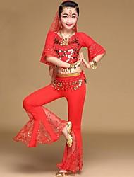 baratos -Dança do Ventre Roupa Para Meninas Espetáculo Elastano Moedas de Bronze / Elástico Meia Manga Caído Blusa / Calças / Acessórios de Cintura