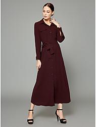 abordables -Mujer Sofisticado / Chic de Calle Túnica / Camisa Vestido Un Color Maxi