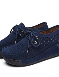 baratos -Mulheres Sapatos Camurça / Couro Ecológico Outono Conforto Tênis Sapatos para Swing Creepers Ponta Redonda Cinzento / Fúcsia / Azul
