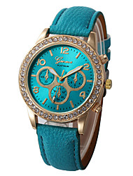 cheap -Women's Dress Watch Quartz Chronograph Luminous Casual Watch Leather Band Analog Luxury Sparkle Black / White / Red - Red Light Blue Light Green One Year Battery Life / Large Dial / Tianqiu 377