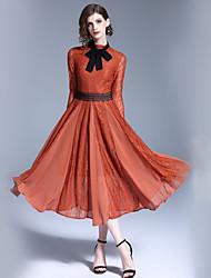 baratos -Mulheres Básico / Moda de Rua balanço Vestido - Renda, Estampa Colorida Colarinho Chinês Médio