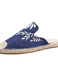 Недорогие -Жен. Обувь Полотно Весна лето Удобная обувь Башмаки и босоножки Для прогулок На плоской подошве Закрытый мыс Серый / Синий