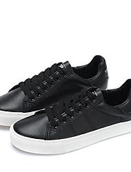 お買い得  -女性用 靴 PUレザー 春 コンフォートシューズ スニーカー フラットヒール ラウンドトウ のために アウトドア ホワイト / ブラック