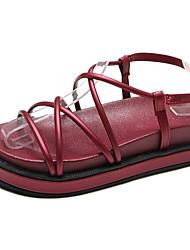 baratos -Mulheres Sapatos Couro Ecológico Verão Conforto Sandálias Sem Salto Preto / Vinho