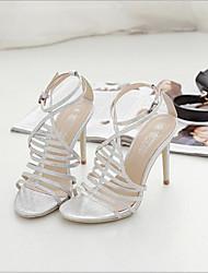 お買い得  -女性用 靴 PUレザー 夏 コンフォートシューズ サンダル スティレットヒール オープントゥ のために アウトドア ゴールド / シルバー