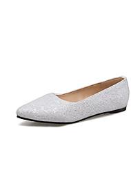 baratos -Mulheres Sapatos Courino Verão Conforto Rasos Sem Salto Dedo Apontado Branco / Preto / Prata
