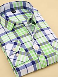 baratos -Homens Camisa Social Básico Listrado / Geométrica