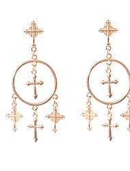 hesapli -Kadın's Haç Desenli Damla Küpeler - Krzyż Basit, Avrupa, Moda Mücevher Altın / Gümüş Uyumluluk Günlük / 1 çift