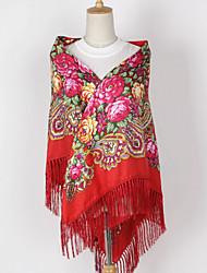 cheap -Women's Vintage Basic Polyester Square - Floral Tassel