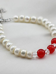 cheap -Women's Onyx / Freshwater Pearl Strand Bracelet - S925 Sterling Silver, Freshwater Pearl Simple, Natural, Elegant Bracelet Red For Party / Gift