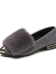Недорогие -Жен. Обувь Мех Весна лето Удобная обувь Мокасины и Свитер На низком каблуке Черный / Серый