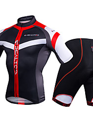 economico -Realtoo Per uomo Manica corta Maglia con pantaloncini da ciclismo - Nero / Rosso / Blu / bianco Bicicletta Set di vestiti, Pad 3D Poliestere, Elastene Strisce / Elasticizzato