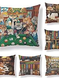 abordables -6 pcs Tissu / Coton / Lin Taie d'oreiller, Décoration artistique / Animal / Imprimé Forme carrée / Dessin Animé