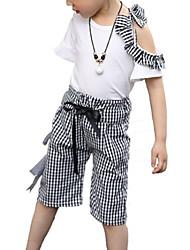 Недорогие -Дети Девочки Контрастных цветов / Шахматка С короткими рукавами Набор одежды