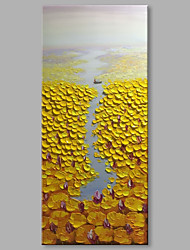 cheap -STYLEDECOR Modern Hand Painted Abstract Yellow Lotus Pond Oil Painting on Canvas for Wall Art