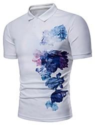 cheap -Men's Basic Shirt - Floral / Color Block
