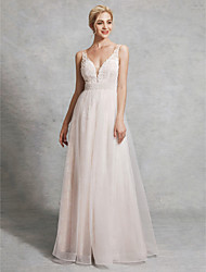 cheap -A-Line Plunging Neck Floor Length Lace / Satin / Tulle Made-To-Measure Wedding Dresses with Beading by LAN TING BRIDE®
