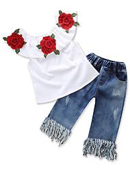 abordables -Bébé Fille Couleur Pleine Fleur Sans Manches Ensemble de Vêtements