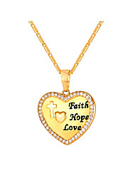 cheap -Cubic Zirconia Pendant Necklace - Heart Fashion Gold, Silver 55 cm Necklace Jewelry For Daily