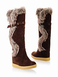 billige -Dame Sko Nubuck Læder Efterår vinter Ridestøvler Støvler Kile Hæl Knæhøje støvler for udendørs Orange / Brun / Kakifarvet