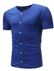 abordables -Tee-shirt Homme, Couleur Pleine Basique Col en V / Manches Courtes