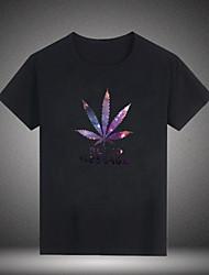 billige Weekly Deals-Rund hals Herre - Blomstret / Bogstaver Bomuld Basale T-shirt / Kortærmet