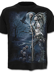 baratos -Homens Camiseta Caveira Exagerado Estampado, Estampa Colorida Retrato