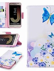 Недорогие -Кейс для Назначение SSamsung Galaxy J7 (2017) / J2 PRO 2018 Бумажник для карт / Кошелек / со стендом Чехол Бабочка Твердый Кожа PU для J7