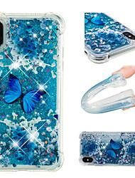 Недорогие -Кейс для Назначение Apple iPhone X / iPhone 8 Plus Защита от удара / Движущаяся жидкость / С узором Кейс на заднюю панель Бабочка /