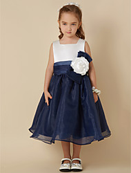 cheap -Ball Gown Knee Length Flower Girl Dress - Organza Sleeveless Square Neck with Bow(s) Sash / Ribbon Flower by LAN TING BRIDE®