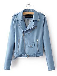 baratos -Mulheres Jaquetas de Couro Fofo - Sólido Colarinho de Camisa / Primavera