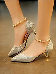 Недорогие -Жен. Обувь Полиуретан Лето Удобная обувь Обувь на каблуках На низком каблуке Золотой / Черный / Серебряный
