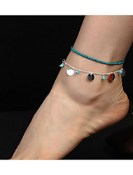 cheap -Turquoise Geometric Anklet - Double Layered Gold / Silver For Daily / Women's